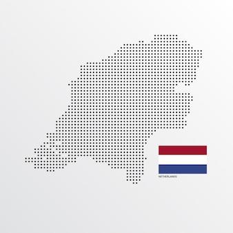 フラグと明るい背景ベクトルを持つオランダの地図デザイン