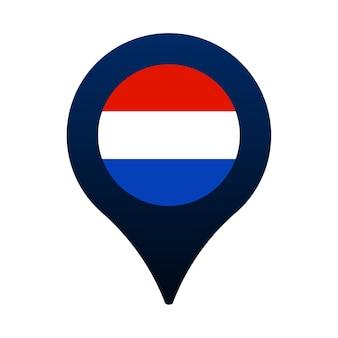 네덜란드 국기와 지도 포인터 아이콘입니다. 국기 위치 아이콘 벡터 디자인, gps 로케이터 핀. 벡터 일러스트 레이 션