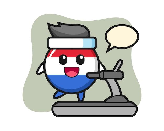 디딜 방 아에 걷는 네덜란드 국기 배지 만화 캐릭터