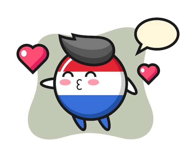 Мультяшный персонаж значка флага нидерландов с жестом поцелуя