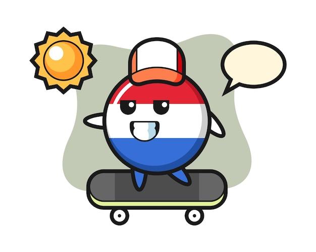 Иллюстрация символа значка флага нидерландов кататься на скейтборде