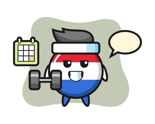 네덜란드 국기 배지 마스코트 만화 아령으로 피트 니스를 하 고