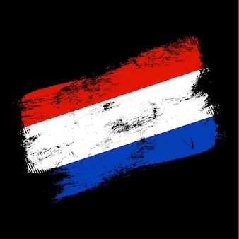 Netherlands flag grunge brush background. old brush flag vector illustration. abstract concept of national background.