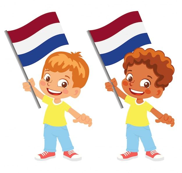 손 세트에 네덜란드 국기