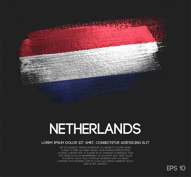 Netherlands flag made of glitter sparkle brush paint