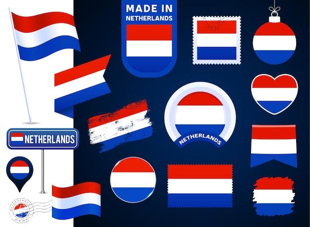 네덜란드 국기 벡터 컬렉션입니다. 평평한 스타일의 공휴일과 공휴일을 위한 다양한 모양의 국기 디자인 요소의 큰 집합입니다. 소인, 만든, 사랑, 원, 도로 표지판, 파