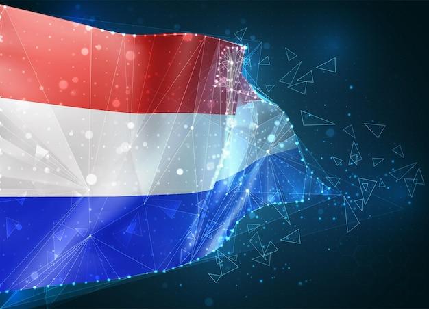 네덜란드, 플래그, 파란색 배경에 삼각형 폴리곤에서 가상 추상 3d 개체