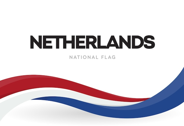 Netherlands flag, wavy ribbon with colors of dutch national flag