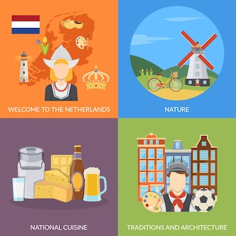 Netherlands flat elements and characters set