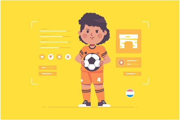 オランダのサッカー選手のかわいいキャラクターデザイン