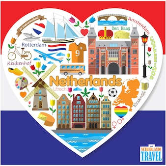 Netherlands love.set colored flaticons and symbols in form of heart