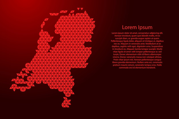 Netherlands map abstract schematic from red triangles repeating  geometric  with nodes for banner, poster, greeting card.  .