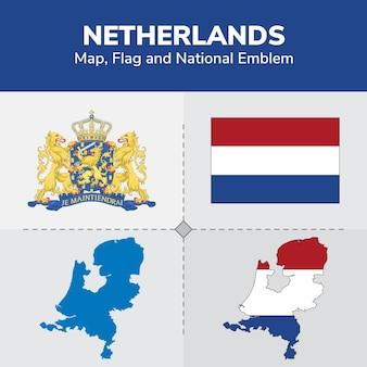 Netherlands map, flag and national emblem