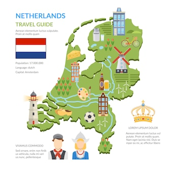 Netherlands map flat infographics