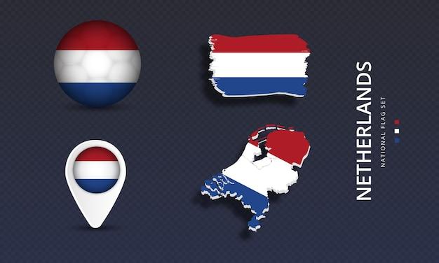 네덜란드 국가 국가 웨이브 플래그 세트