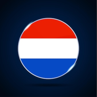 네덜란드 국기 원형 버튼 아이콘입니다. 간단한 깃발, 공식 색상 및 비율이 정확합니다. 평면 벡터 일러스트 레이 션.