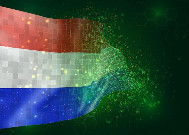 다각형 및 데이터 번호와 녹색 배경에 벡터 3d 플래그에 네덜란드