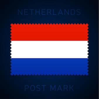 네덜란드 우표. 국기 우표 흰색 배경 벡터 일러스트 레이 션에 고립입니다. 공식 국가 국기 패턴과 국가 이름이 있는 스탬프