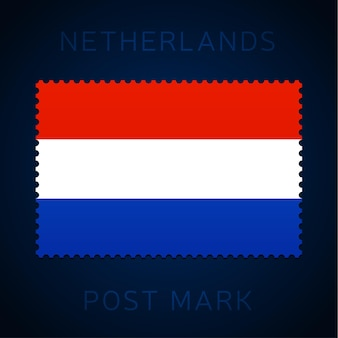 Netherlands postage mark. national flag postage stamp isolated on white background vector illustration. stamp with official country flag pattern and countries name