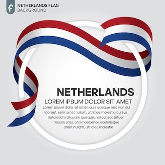 흰색 바탕에 네덜란드 리본 플래그 벡터 일러스트 레이 션