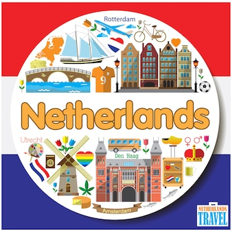 Netherlands round background.colored flat icons and symbols set