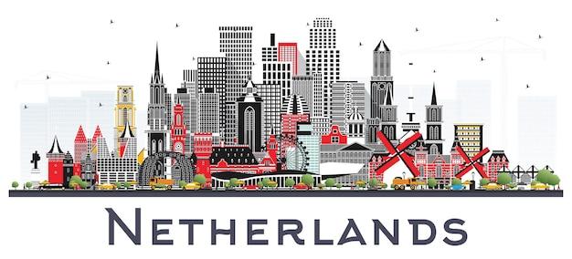 흰색 절연 회색 건물 네덜란드 스카이 라인. 벡터 일러스트 레이 션. 역사적인 건축과 관광 개념입니다. 랜드마크가 있는 도시 풍경. 암스테르담. 로테르담. 헤이그. 위트레흐트
