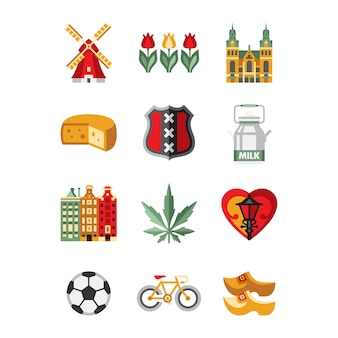 Netherlands symbols and landmarks  set