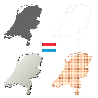 네덜란드 벡터 개요지도 세트