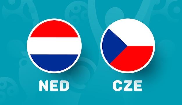 Netherlands vs czech republic round of 16 match, european football championship 2020 vector illustration. football 2020 championship match versus teams intro sport background
