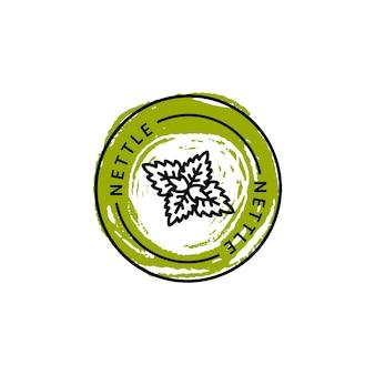 Значок и значок листа крапивы в линейном тренде и стиле рисования руки - векторный логотип, эмблема крапивы. может использоваться шаблон для упаковки чая, косметики, лекарств, биологических добавок.