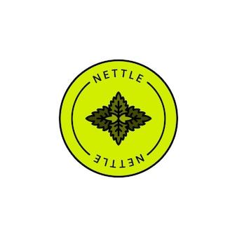 Травяной органический значок и значок из листьев крапивы в линейном стиле тренда - векторный зеленый логотип, эмблема медицинской крапивы, может использоваться шаблон для упаковки чая, косметики, лекарств, биологических добавок