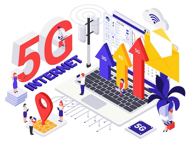 Concetto di design isometrico per la generazione di internet di rete 5g con persone minuscole e simboli di crescita