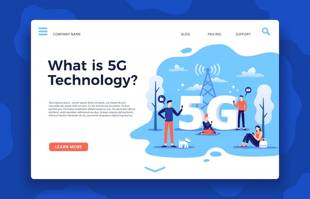 Network 5g landing page. fast internet, wireless high speed connection and fifth generation networks vector illustration