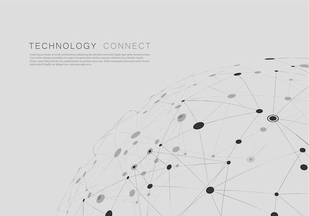 Network abstract background with connected shapes
