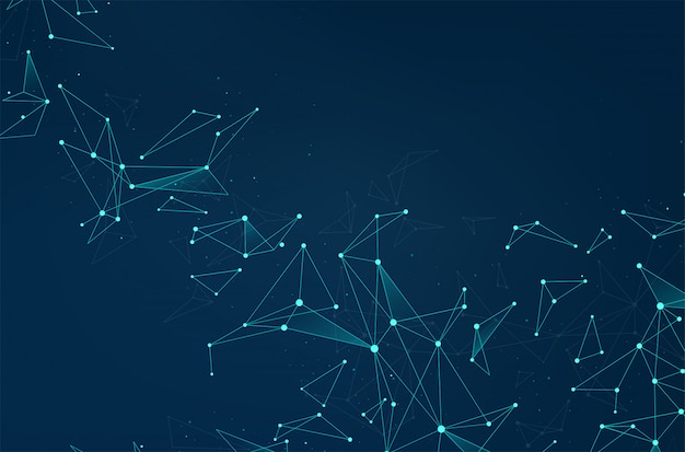 Network abstract connections with dots and lines on blue background.