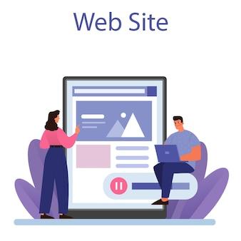Онлайн-сервис или платформа сетевой активности. векторная иллюстрация плоский
