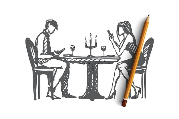 Концепция сети пристрастилась. нарисованная рукой молодая пара в кафе уделяет больше внимания своим телефонам, чем друг другу изолированные векторные иллюстрации.