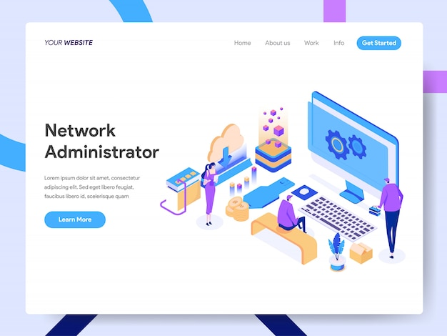 Network administrator isometric illustration for website page