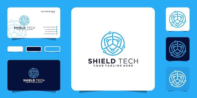 Сеть и технологии щит дизайн логотипа вдохновение визитная карточка