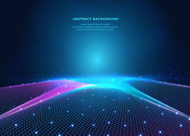 Network and blue future background on space surface