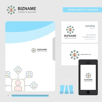Network  business logo, file cover visiting card and mobile app design