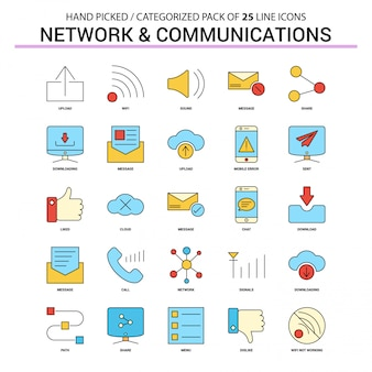 Network and communication flat line icon set
