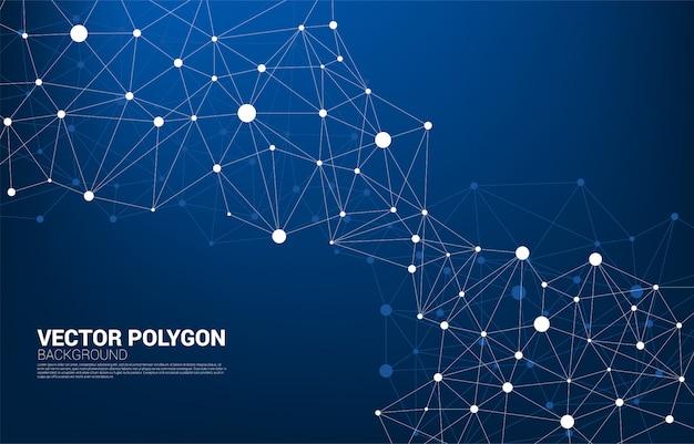 Сеть, соединяющая точечный фон многоугольника. концепция сетевого бизнеса, технологий, данных и химических веществ. точка подключения линии абстрактного фона представляет собой футуристическую сеть и преобразование данных