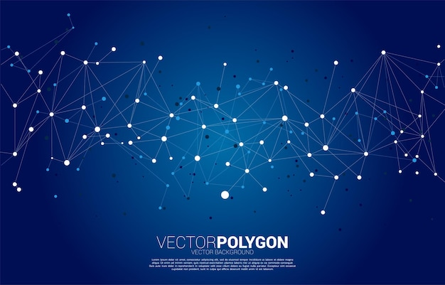 네트워크 연결 도트 다각형 배경. 네트워킹 기술과 미래 지향적 인 스타일의 개념.