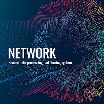 Вектор шаблона технологии сетевого подключения для публикации в социальных сетях в темно-синих тонах