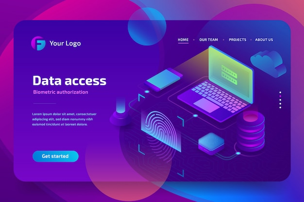 Network data access with biometric authorization concept. scan fingerprint, identification system, landing page template.  isometric  illustration on ultraviolet background