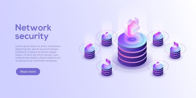 Network data security isometric. online server protection system concept with datacenter or blockchain.