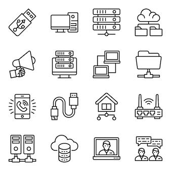 Network devices line icons pack