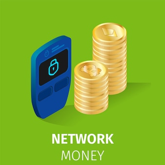 Network finance cryptocurrency money square banner