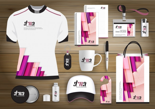 Network gift items, color promotional souvenirs design for link corporate identity with technology lines. stationery set, digital tech template mock up